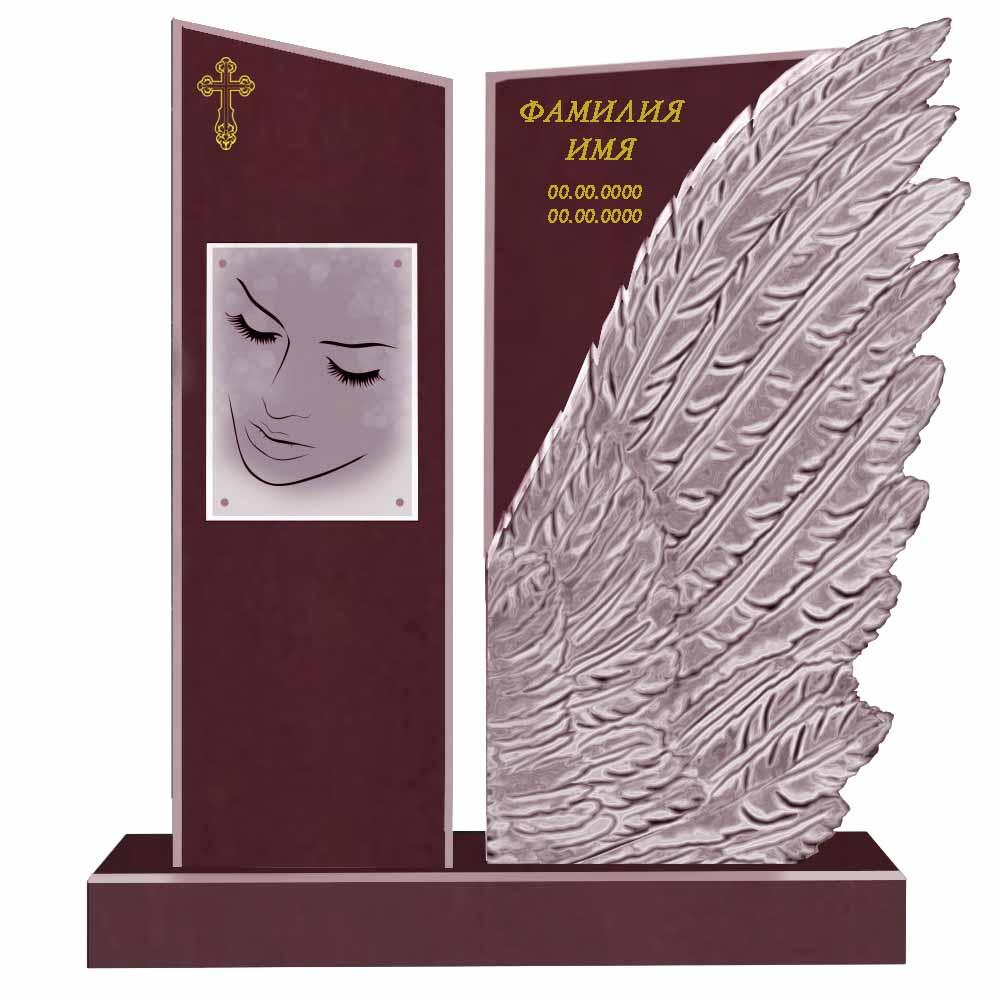 Памятник с крылом Малиновый кварцит (Шокша)